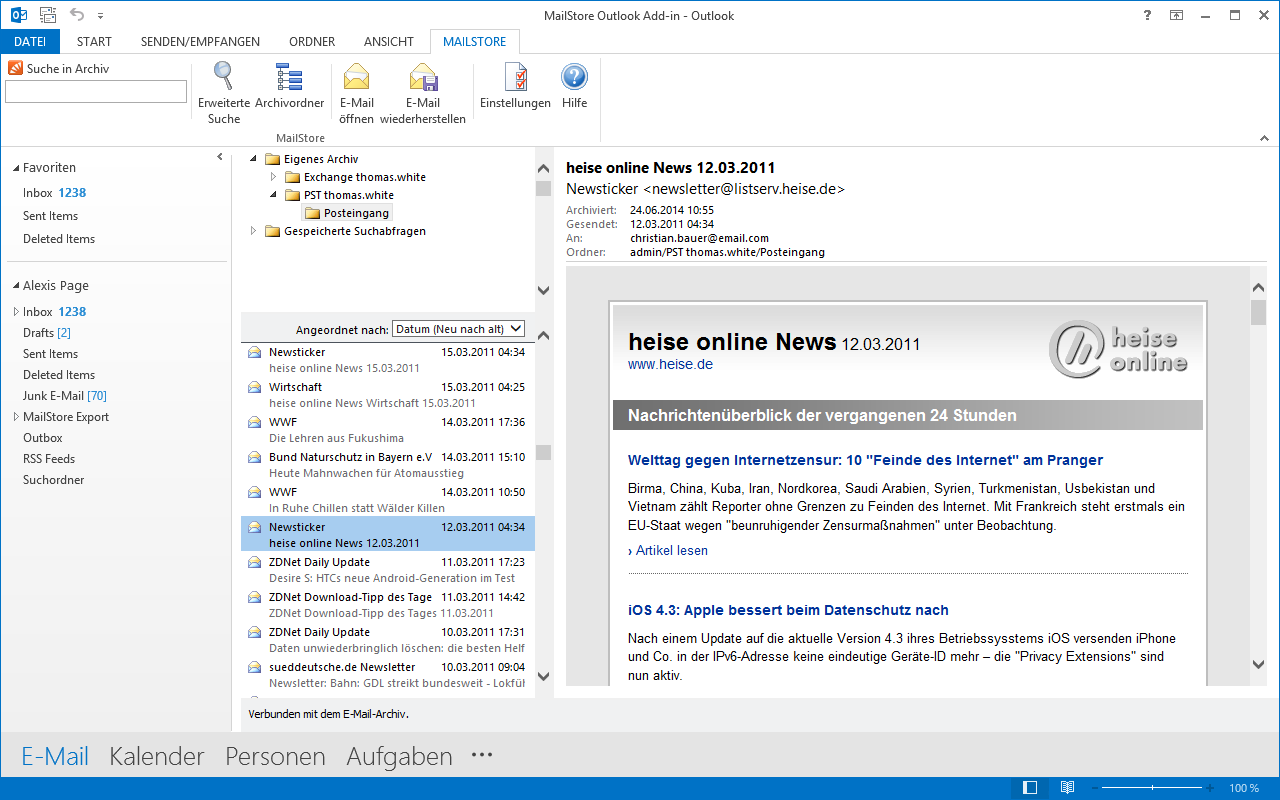 Integration von MailStore in Outlook