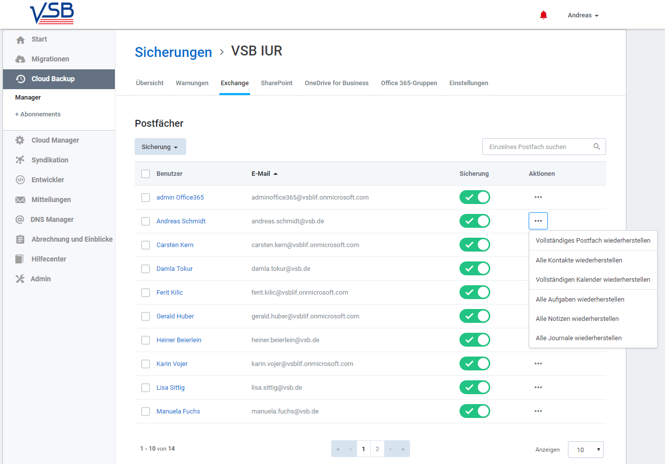 SkyKick Cloud Backup - Wiederherstellung Exchange Online