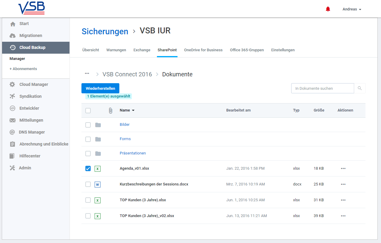 SkyKick Cloud Backup - Wiederherstellung SharePoint Online