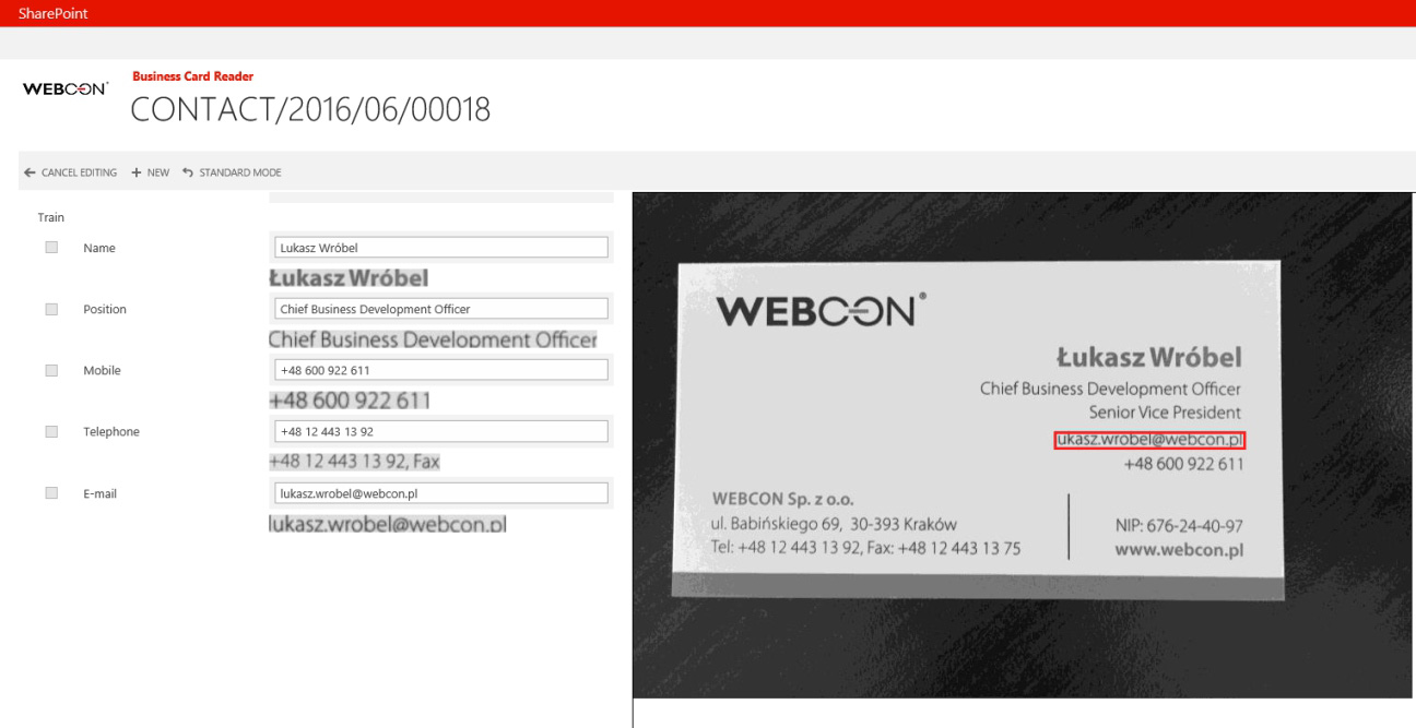 WEBCON BPS 2016 - OCR-Engine